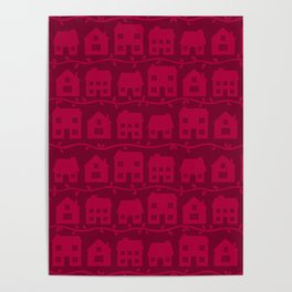 Cottage Charm in Raspberry Pink Poster