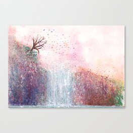 Waterfall Watercolor Illustration Canvas Print