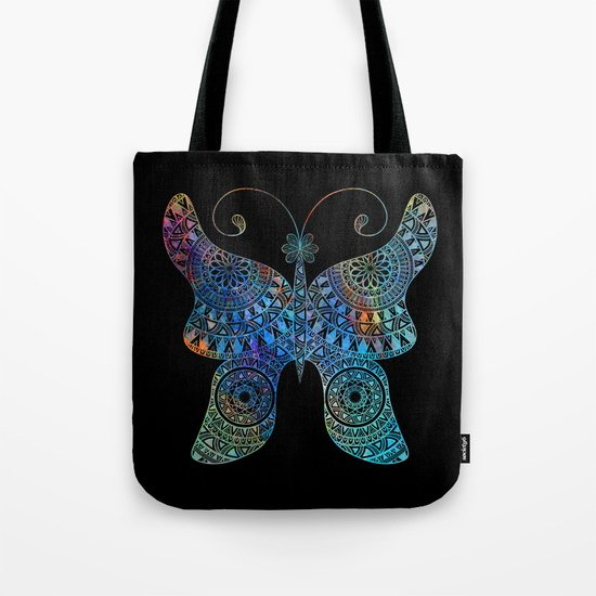 Drawn Butterfly on Black Tote Bag