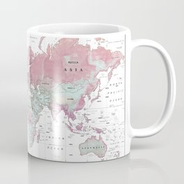 World Map Wall Art [Pink Hues] Coffee Mug