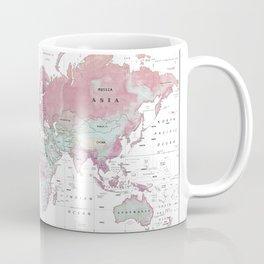 World Map Wall Art [Pink Hues] Coffee Mug