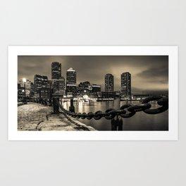 Boston Harbor Panoramic Skyline in Sepia Monochrome Art Print