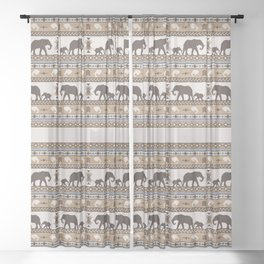 Boho animals   Elephants tan Sheer Curtain