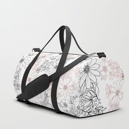 Hand drawn black faux rose gold floral Duffle Bag