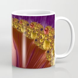 Purple Gold and Red Fractal Spiral Coffee Mug