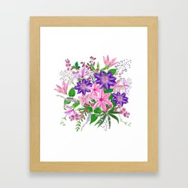 Bouquet with pink and violet clematis flowers Framed Art Print