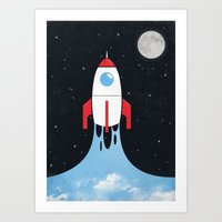 rocket Art Prints featuring Rocket by laurxy