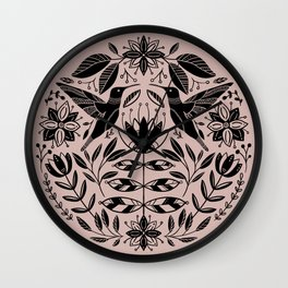 Hummingbird Floral Folk Art - Pink Wall Clock