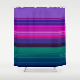 Vibrant Purple Pink and Green Stripes Shower Curtain