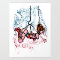 bondage Art Prints featuring Bondage Wonderowman by lucille umali