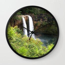 BEAUTIFUL DOUBLE WATERFALL IN KAUAI Wall Clock