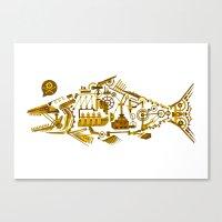 cyberpunk Canvas Prints featuring Cyberpunk fish by Oceloti