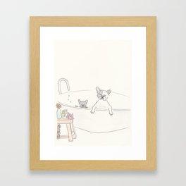 French Bulldogs Bath Time Framed Art Print