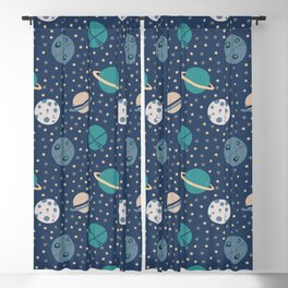 planets and stars, space art, space pattern Blackout Curtain