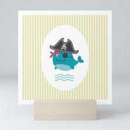 Underwater pirates vintage pattern Mini Art Print