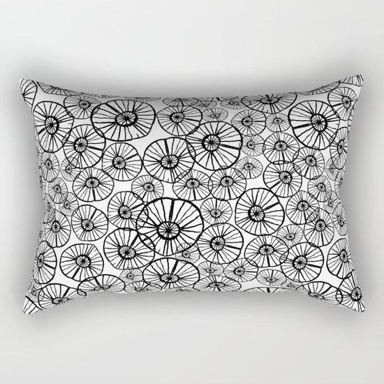 Lexi - squiggle modern black and white hand drawn pattern design pinwheels natural organic form abst Rectangular Pillow