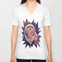 shih tzu V-neck T-shirts featuring shih tzu smile by elissa iatridis