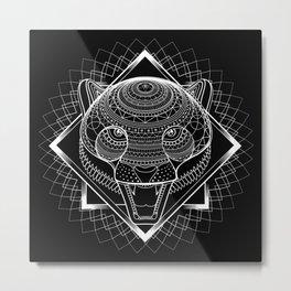 White Cheetah Mandala Metal Print