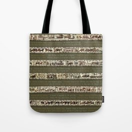 Bayeux Tapestry on Army Green - Full scenes & description Tote Bag
