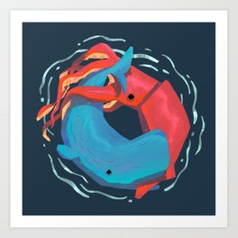 Whale Vs. Squid Art Print