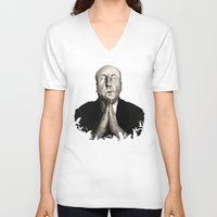 hitchcock V-neck T-shirts featuring Alfred Hitchcock by Ilustrismo