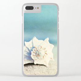 Seashell on Beach Photography, Aqua Blue Shell Coastal Photo, Teal Turquoise Ocean Seashore Clear iPhone Case