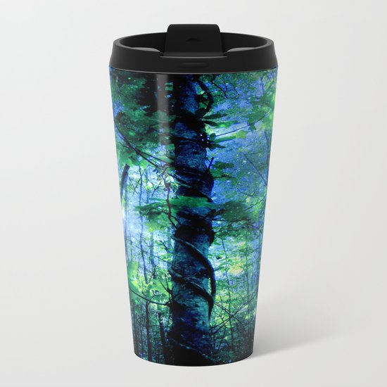 Forest of the Fairies Blue Night Metal Travel Mug