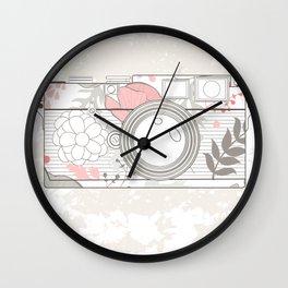 floral camera Wall Clock