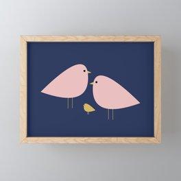 Bird Family in Pink, Navy Blue, and Mustard -  Minimalist Scandinavian Mid-Century Modern Design Framed Mini Art Print