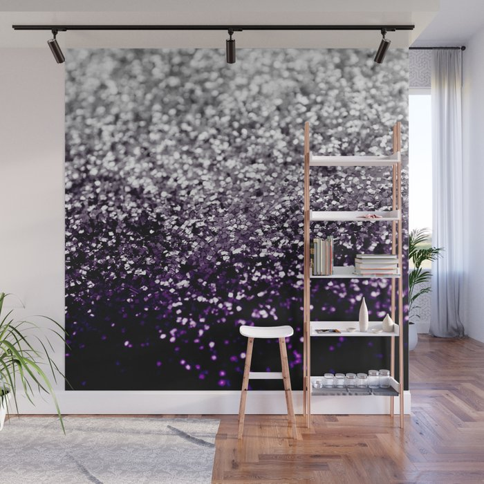 Dark Night Purple Black Silver Glitter 1 Shiny Decor Art Society6 Wall Mural By Anitabellajantz