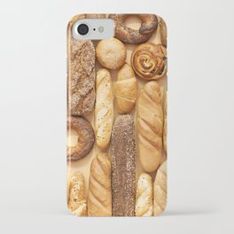 Bread baking rolls and croissants background iPhone Case