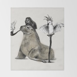 Pirate // seal parrot Throw Blanket