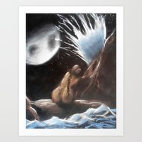 contemplating the moon Art Print