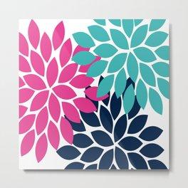 Bold Colorful Hot Pink Turquoise Navy Dahlia Flower Burst Petals Metal Print