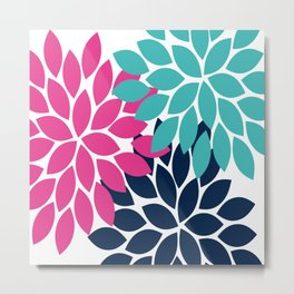 Bold Colorful Hot Pink Turquoise Navy Dahlia Flower Burst Petals Metal Print
