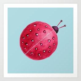 Spherical Abstract Watercolor Ladybug Art Print