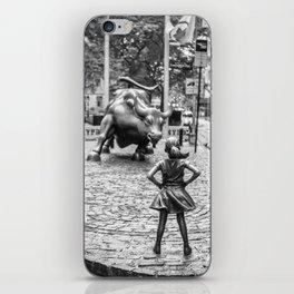 Fearless Girl & Charging Bull in the rain iPhone Skin