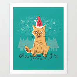 Festive Holiday Forest Fox Art Print