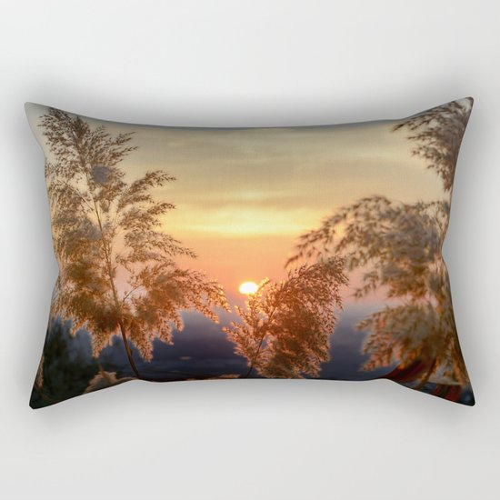"""Sun through the fields"" Sunset at the mountains Rectangular Pillow"