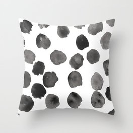 Black and White Watercolor Spots Throw Pillow
