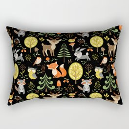 Cute Colorful Wood Animals In Forest Rectangular Pillow