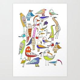 Birds. bird, pattern, animals, kids, art, design, illustration, Art Print