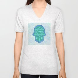 Hamsa for blessings, protection and strength - watercolor turquoise Unisex V-Neck