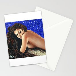 Starry Night Female Figure Nude Mermaid Bather Swimmer Beach Sandy Blue Brown Beautiful Woman Gift Stationery Cards