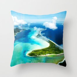 """French Polynesia's Secluded """"Secret Island"""": Aerial View Throw Pillow"""