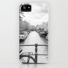 Bicycles and houseboats on Amsterdam canal iPhone Case