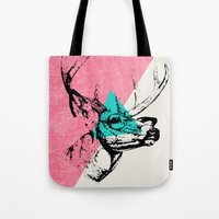 techno Tote Bags featuring Techno Deer by Zeke Tucker