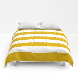 Mustard yellow - solid color - white stripes pattern Comforters