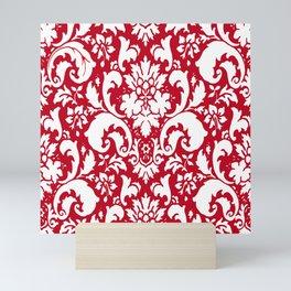 Paisley Damask Red and White Pattern Mini Art Print