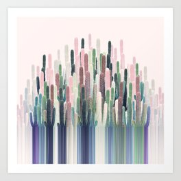Cacti Stripe Pastel Art Print